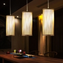 Chinese 1 Head Ceiling Light Wood Tubular Pendant Lighting Fixture with Bamboo Shade