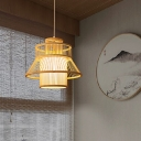 Japanese Wide Flare Hanging Light Bamboo 1 Bulb Pendant Lighting Fixture in Wood