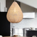 Teardrop Bamboo Hanging Lamp Asia 1 Bulb Wood Pendant Lighting Fixture for Living Room