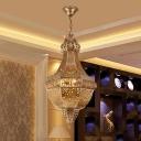 Metal Brass Empire Chandelier Basket 4 Heads Vintage Ceiling Pendant Light for Living Room