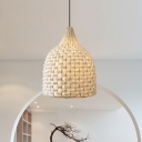 1 Head Teahouse Hanging Lamp Asia Beige Ceiling Pendant Light with Bell Bamboo Shade