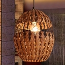 Chinese 1 Head Down Lighting Brown Cage Ceiling Pendant Light with Bamboo Shade