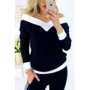 New Fashion Color-Block Panel Off the Shoulder Long Sleeve Loose T-Shirt Womens Top