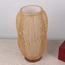 Japanese Cylindrical Task Lighting Bamboo 1 Head Small Desk Lamp in Wood for Living Room