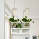 2/3 Bulbs Bowl Cluster Pendant Light Industrial Black/White Metal Plant Down Lighting with Round/Linear Canopy