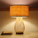 Bamboo Teardrop Task Lighting Asia 1 Head Beige Small Desk Lamp with Cylinder Shade