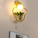 1 Light Clover Sconce Wall Light Industrial Gold Metal LED Plant Wall Lighting Fixture with Dangling Crystal