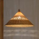Asian 1 Head Ceiling Light Flaxen Trumpet Pendant Lighting Fixture with Bamboo Shade