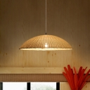 1 Head Dining Room Ceiling Lamp Asia Flaxen Hanging Light Fixture with Dome Bamboo Shade