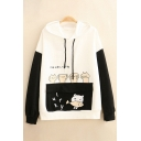 Lovely Cat and Japanese Letter Print Colorblocked Long Sleeve Flap Pocket Thin Loose Hoodie