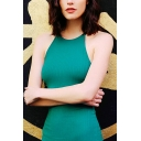 Womens Elegant Solid Color Round Neck Sleeveless Lace Up Side Mini Fitted Dress