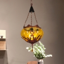 Amber Glass Copper Pendant Lighting Oval Shade 1 Head Vintage Hanging Ceiling Lamp