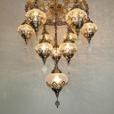 10 Bulbs Crackle Glass Chandelier Lamp Art Deco Bronze 3 Layer Coffee Shop Hanging Light Fixture