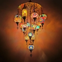 19 Heads Hanging Chandelier Antiqued Oval and Cylinder Stained Glass Pendant Lamp in Blue/Orange