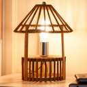 1 Head Tower Task Lighting Chinese Bamboo Small Desk Lamp in Wood for Dining Room