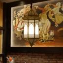 Bronze Lantern Pendant Lamp Decorative Metal 1 Head Dining Room Suspended Lighting Fixture