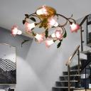 Lily Metal Ceiling Light Country 8 Bulbs Living Room LED Semi Flush Mount Lighting in Brass