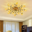 16 Heads Spiral Ceiling Light Fixture Countryside Brass Metal LED Semi Flush Mount Lighting