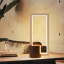 Rectangular Table Lamp Minimalist Acrylic LED White Reading Book Light, White/Warm Light