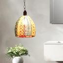 Vintage Scalloped/Dome Suspension Pendant Light 1 Light Metal Hanging Lamp in Blue/Bronze for Restaurant
