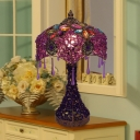 Red/Purple 1 Head Night Lighting Traditional Metal Scalloped Nightstand Light for Living Room