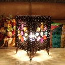 Metal Brass Table Lamp Rectangular 1 Head Art Deco Nightstand Lighting for Bedroom