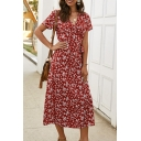 Elegant Women's Short Sleeve Surplice Neck All-Over Flower Pattern Maxi Wrap Dress