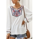 Ethnic Women's White Long Sleeve Round Neck Floral Printed Relaxed Fit Shirt