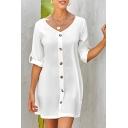 Formal Women's Plain Roll Up Sleeve V-Neck Button Down Short A-Line Dress