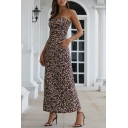 Beautiful Women's Sleeveless Strapless All Over Floral Printed Maxi A-Line Tube Dress