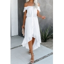 Gorgeous Ladies' Plain Short Sleeve Off the Shoulder Button Front Tied Waist Ruched Asymmetric Maxi Flowy Dress