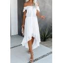 Gorgeous Ladies' Plain Short Sleeve Off the Shoulder Button Front Tied Waist Ruched Asymmetric Maxi Flowy Dress