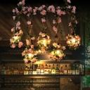 Pink/Light Pink Bulb Island Lighting Fixture Industrial Metal 5 Heads Restaurant Flower Ceiling Lamp