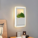 Rectangle Bedroom Sconce Wall Lighting Industrial Acrylic LED White Plant Wall Light Fixture in Warm/White Light