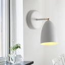 Contemporary 1 Bulb Sconce Light White Flared Wall Mounted Lamp with Metal Shade