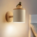 Metal Cylinder Sconce Modernist 1 Bulb Wall Mount Light Fixture in White with Bird