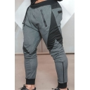 Men's Sport Fashion Color-Block Drawstring Waist Side Leisure Sweatpants