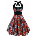 Retro Ladies' Sleeveless Bow Tie Halter All Over Floral Print Contrasted Mid Pleated Swing Dress