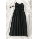 Gorgeous Ladies' Black Plain Sleeveless Strapless Ruched Long Pleated A-Line Dress with Red Shirt
