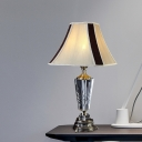 Fabric Gray Night Lamp Flared 1 Head Traditionalism Table Light with Sculpted Metal Base