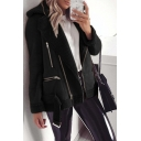 Cool Street Girls' Long Sleeve Lapel Collar Zipper Decoration Buckle Belted Fitted Jacket in Black