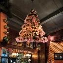 Cherry Blossom Restaurant Chandelier Light Industrial 6 Bulbs LED Pink Hanging Lamp
