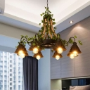Hemp Rope Black Hanging Chandelier Conical 8 Lights Industrial LED Pendant Lighting with Plant