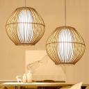 1 Head Tearoom Pendant Lighting Asian Beige Hanging Ceiling Light with Cage Bamboo Shade
