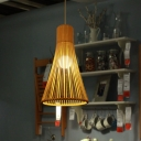1 Bulb Dining Room Pendant Lamp Asia Beige Hanging Ceiling Light with Trumpet Bamboo Shade