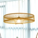 1 Head Restaurant Hanging Lamp Asia Beige Ceiling Pendant Light with Laser Cut Bamboo Shade