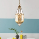 1 Light Metal Pendant Vintage Brass Cone Corridor Hanging Ceiling Lamp with Chain
