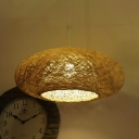 Flaxen Donut Hanging Lamp Asian 1 Bulb Bamboo Ceiling Pendant Light for Dining Room
