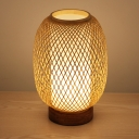Hand-Worked Desk Light Japanese Bamboo 1 Bulb Task Lighting in Wood for Bedside