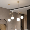 2 Bulbs Globe Cluster Pendant Industrial Black/Grey/Gold Metal LED Hanging Light with Milk White/Smoke Gray Glass Shade